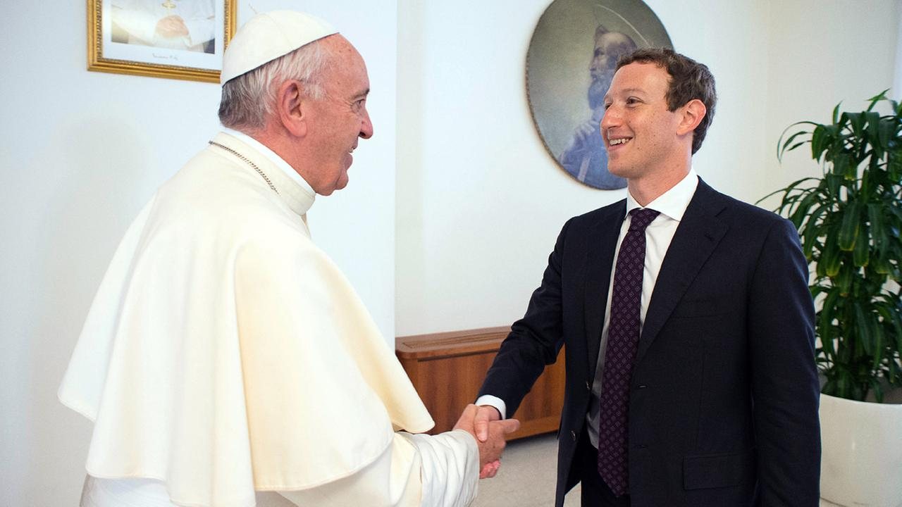 Pope Francis meets Facebook founder and CEO Mark Zuckerberg, at the Santa Marta residence, the guest house in Vatican City where the pope lives, Monday, Aug. 29, 2016.