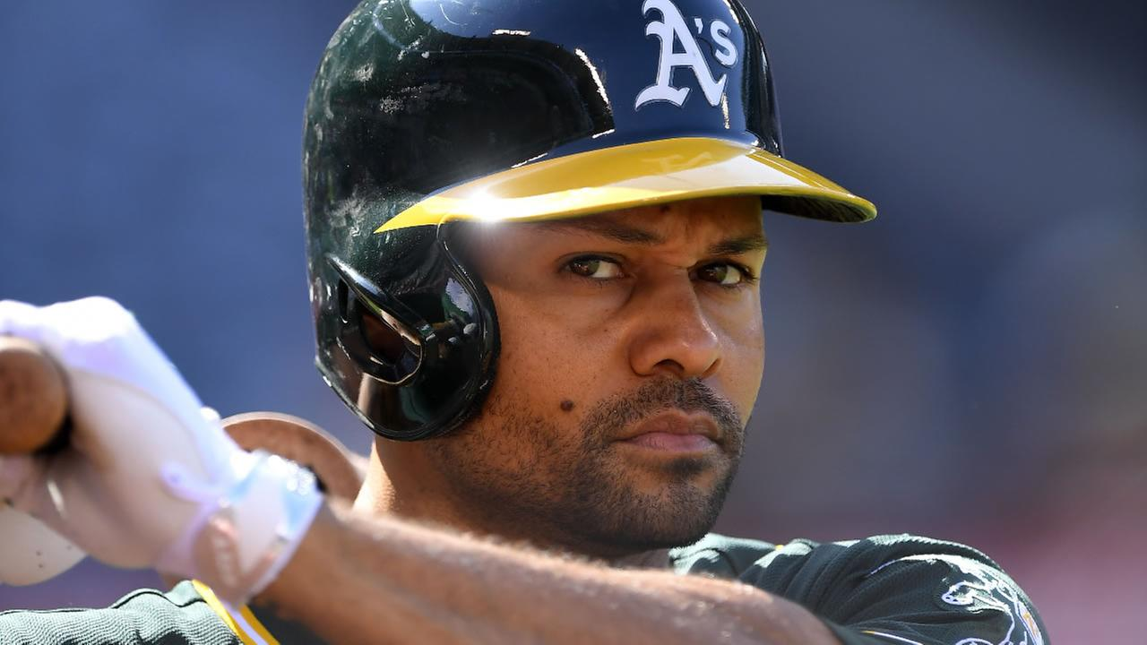 Oakland Athletics Coco Crisp waits to bat during the first inning of a baseball game against the Los Angeles Angels, Thursday, Aug. 4, 2016, in Anaheim, Calif.
