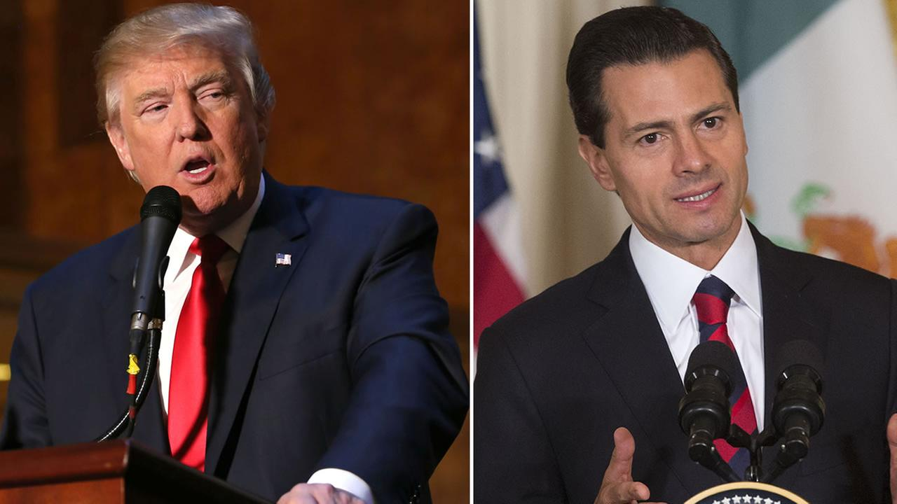 From left to right: Businessman and Republican presidential candidate Donald Trump and Mexican President Enrique Pena Nieto.