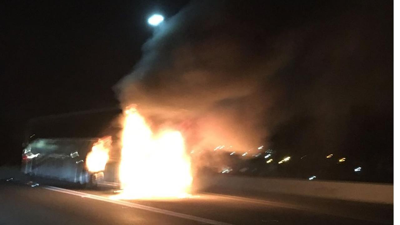 This image shows a tour bus that caught fire on northbound Interstate 880 in San Jose, Calif. on August 30, 2016.