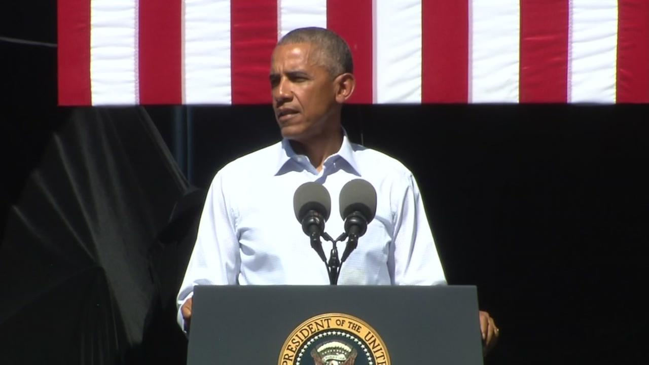 This image shows President Barack Obama as he gives a speak at the Lake Tahoe Summit in Lake Tahoe, Calif. on August 31, 2016.