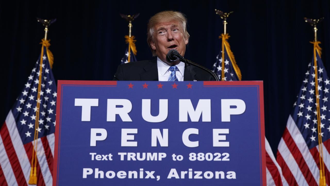 Republican presidential candidate Donald Trump delivers an immigration policy speech during a campaign rally at the Phoenix Convention Center, Wednesday, Aug. 31, 2016, in Phoenix.