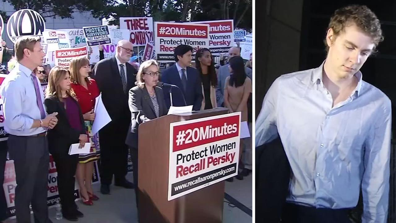 Demonstrators protested outside Santa Clara Countys jail in San Jose, Calif,. on September 2, 2016, the same day Brock Turner, right, was released from jail.