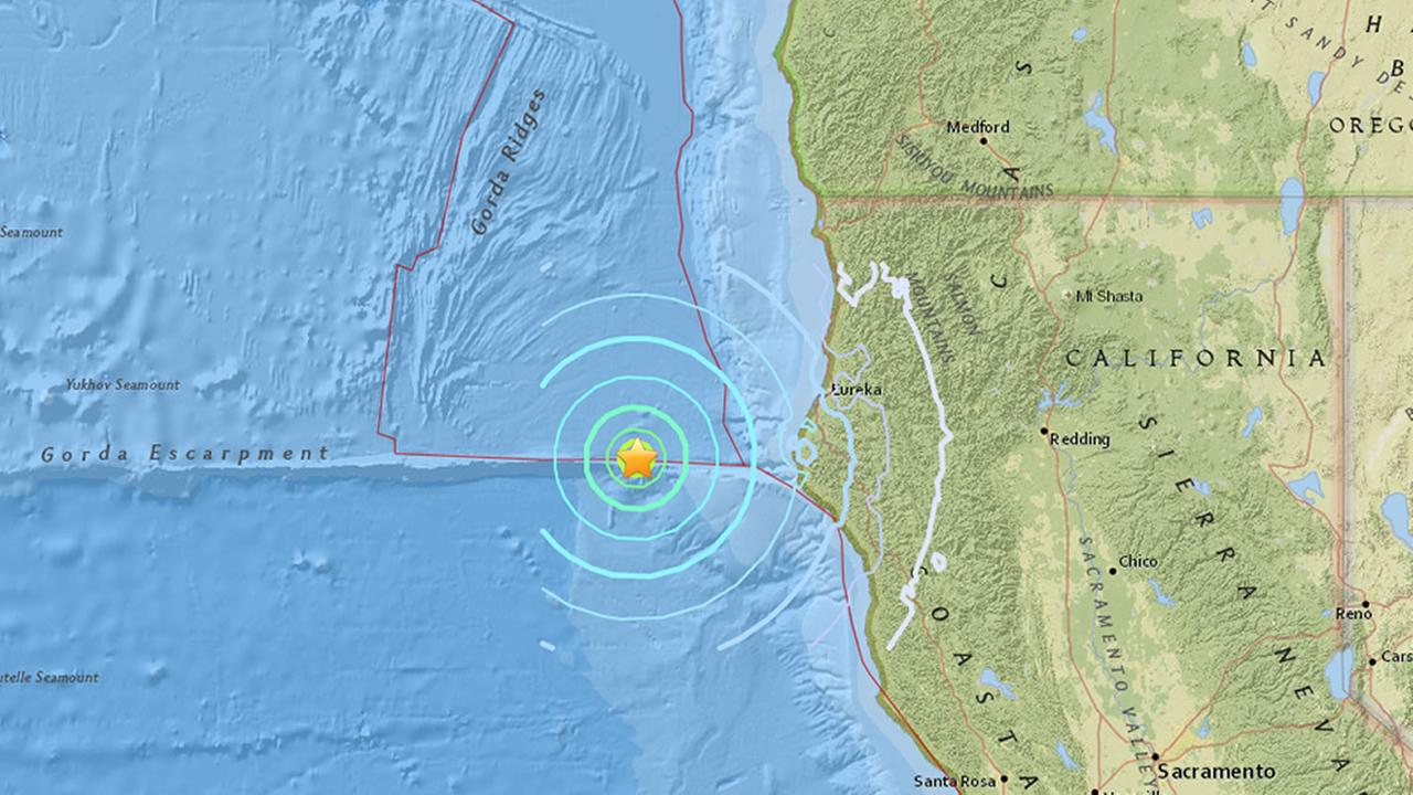 This image shows an earthquake that hit off the coast near Ferndale, Calif. on Sept. 2, 2016.