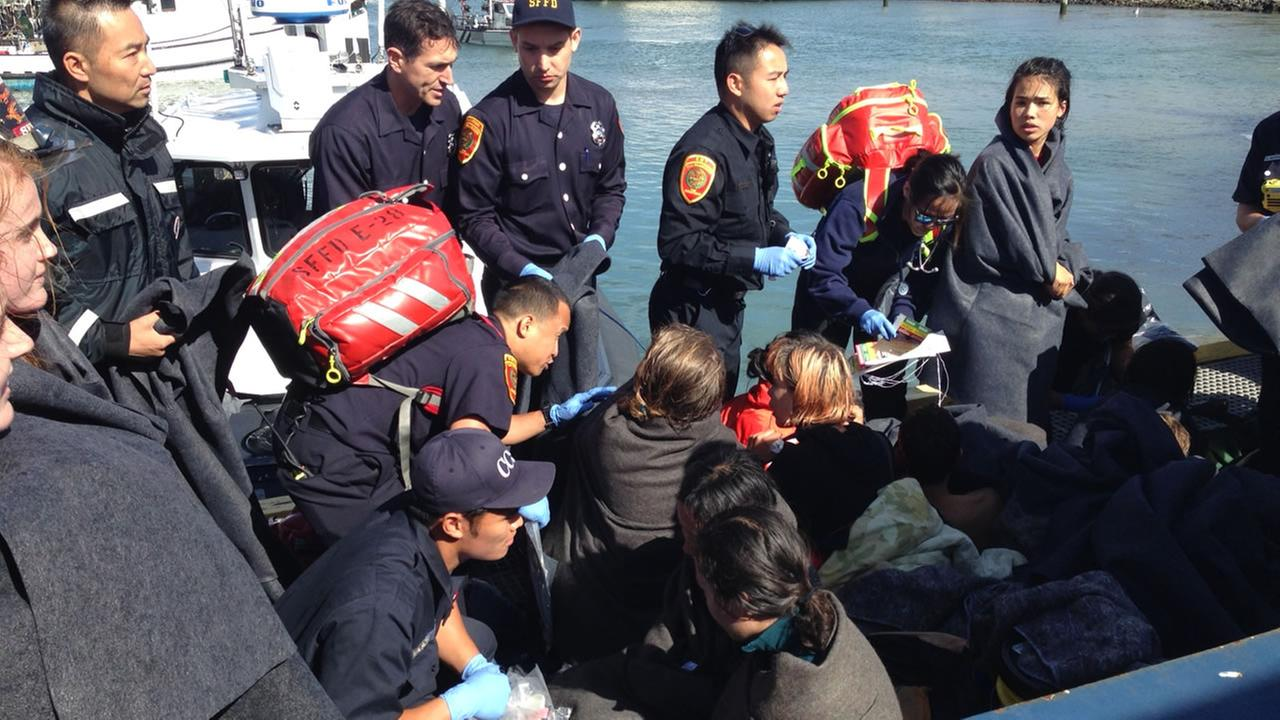 This image shows children being rescued after their boat capsized near Aquatics Park in San Francisco.