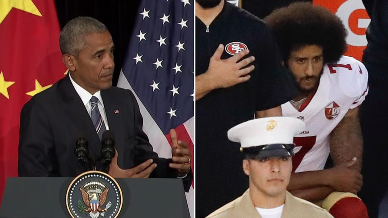 (Left) President Barack Obama speaks at G20 Summit and (right) San Francisco 49ers quarterback kneels during national anthem in San Diego, California.
