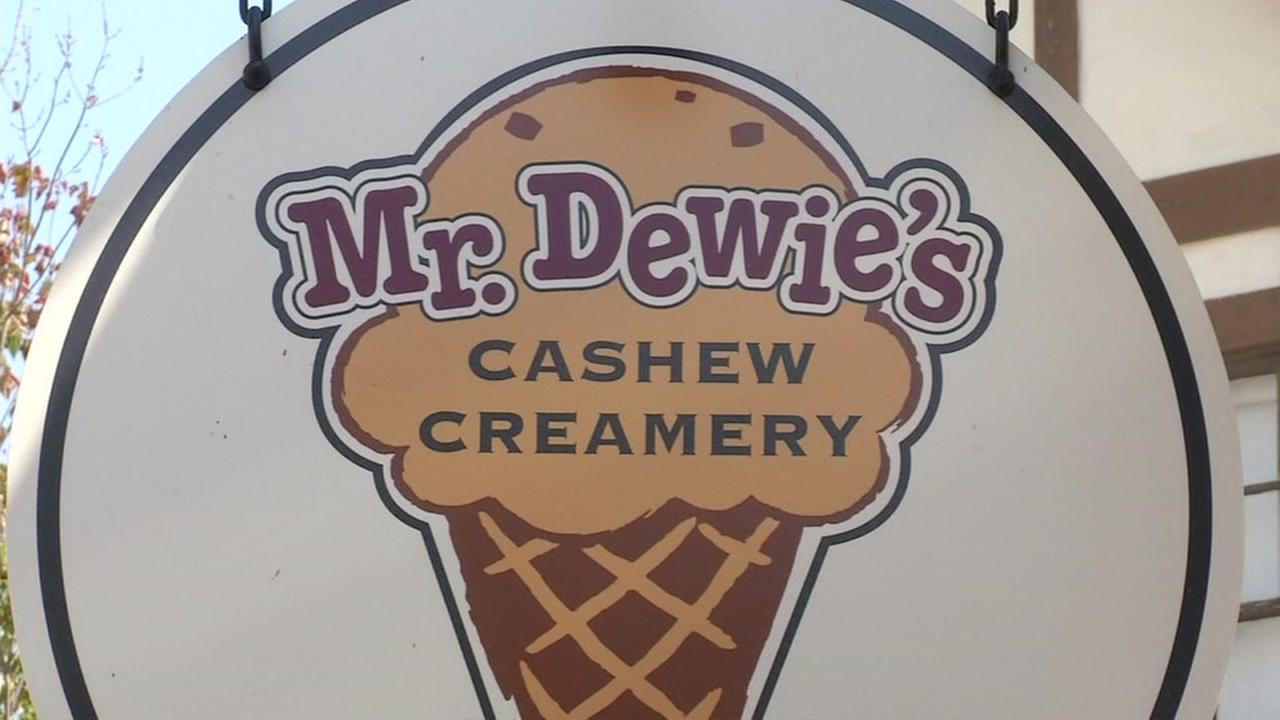 A sign for Mr. Dewies Cashew Creamery in Albany, Calif. is seen on Monday, September 5, 2016.
