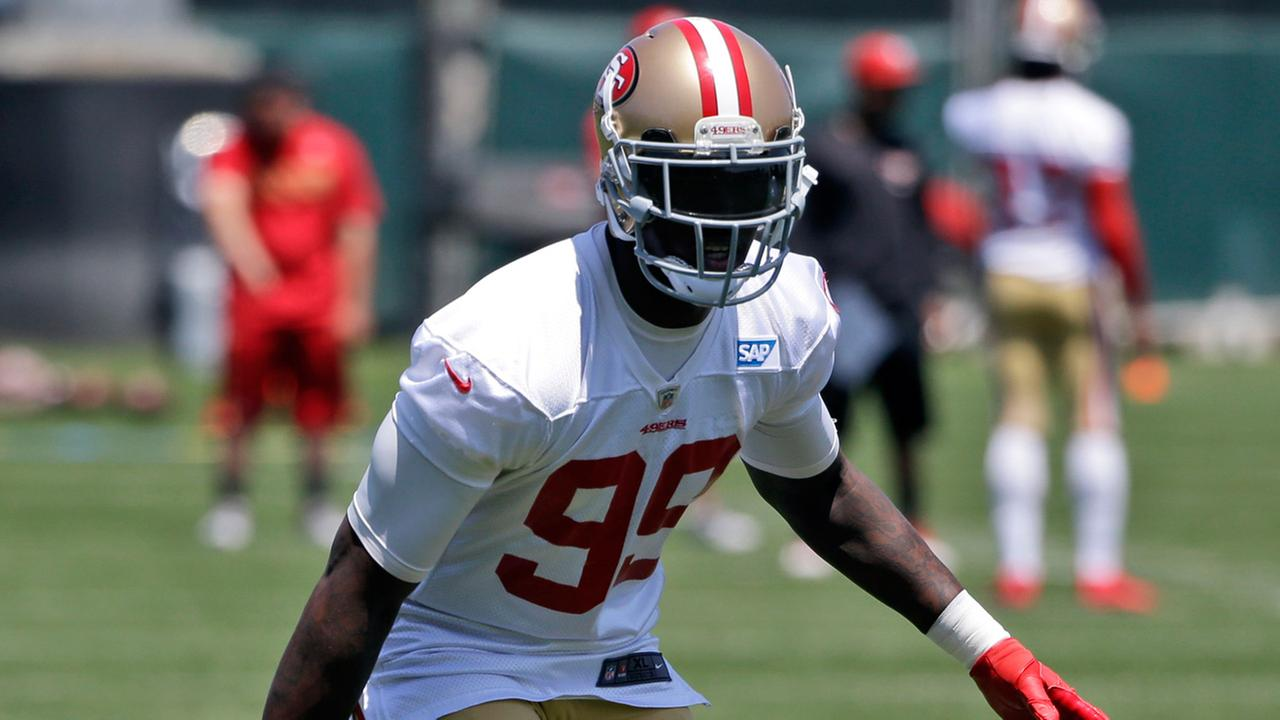 San Francisco 49ers Aldon Smith goes through drills during an NFL football organized team activity Wednesday, May 28, 2014, in Santa Clara, Calif. (AP Photo/Marcio Jose Sanchez)