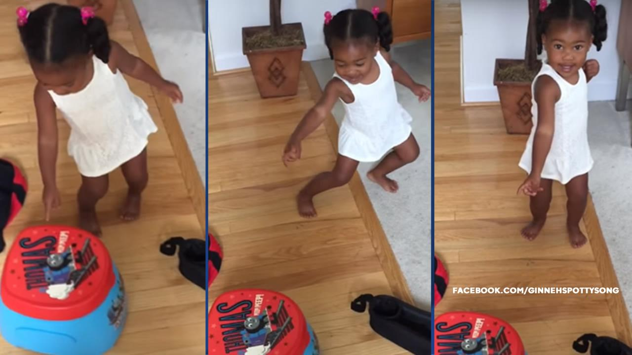Ginneh Wright, 2, is shown in a viral video called Potty Time, a song her mother created to help Ginneh learn to use the potty.