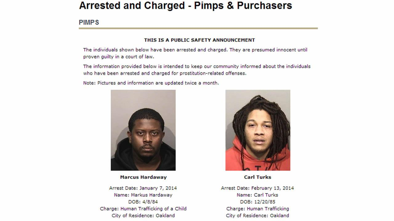 Oakland police launch new website aimed at shaming accused pimps and johns.