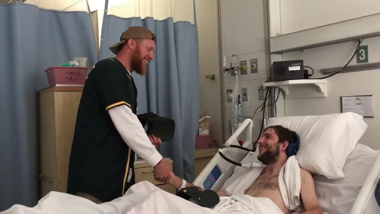 Oakland Athletics star Sean Doolittle visited veterans at the VA Palo Alto Health Care System in Palo Alto, Calif. on Thursday, September 8, 2016.