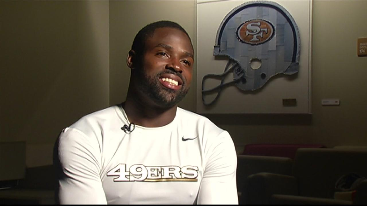 San Francisco 49ers wide receiver Torrey Smith spoke with ABC7 Sportscaster Mike Shumann in September 2016.