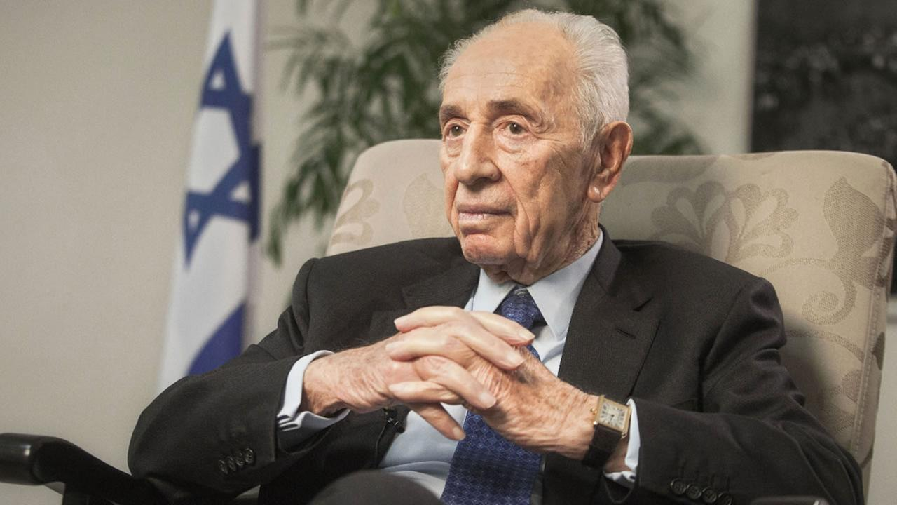In this Monday, Nov. 2, 2015 file photo, former Israeli President Shimon Peres speaks during an interview with The Associated Press in Jerusalem.