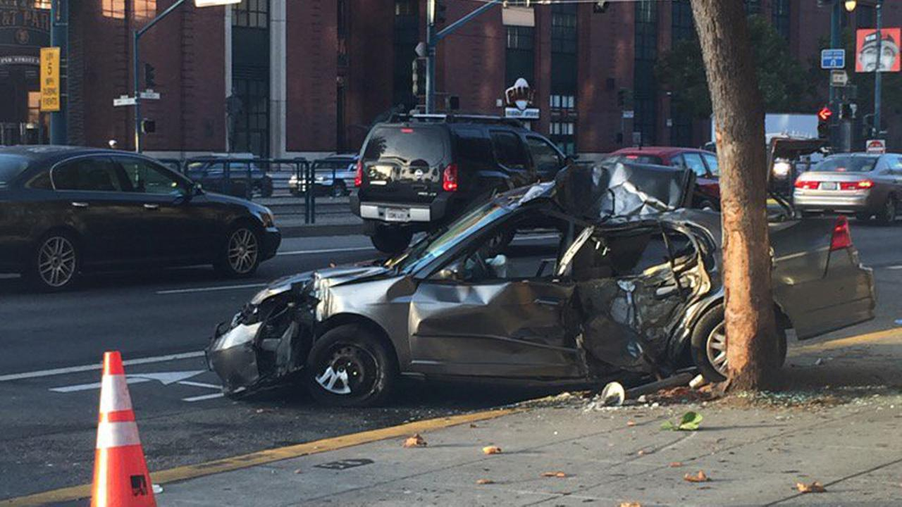 Police are investigating after a chase led to a crash near AT&T Park in San Francisco, Wednesday, September 14, 2016.