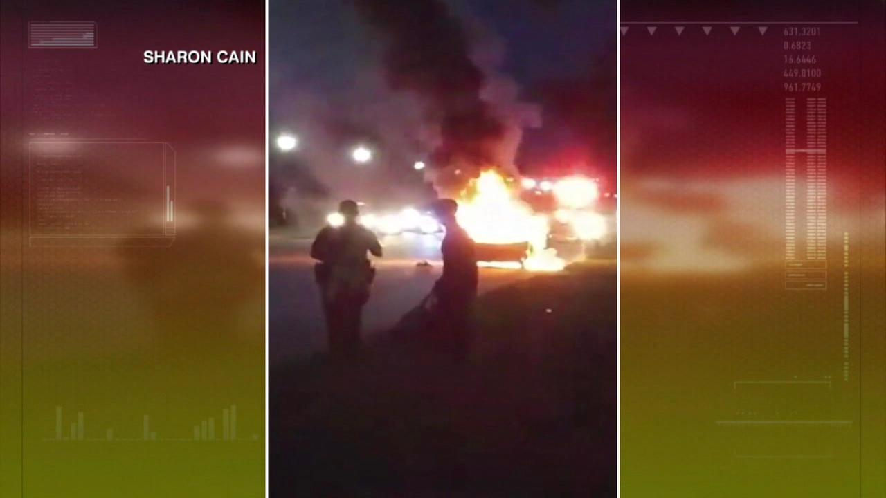 A man in Floridas St. Lucie County says his Samsung Galaxy Note 7 caused this car fire.