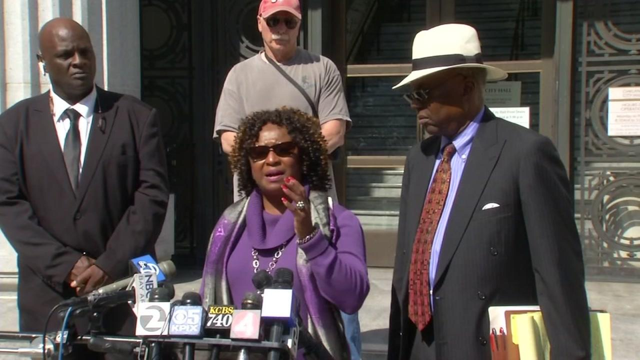 Pamela Price and Charles Bonner, attorneys for the woman at the center of the Bay Area police sex scandal, speak at a news conference in Oakland, Calif. on September 15, 2016.
