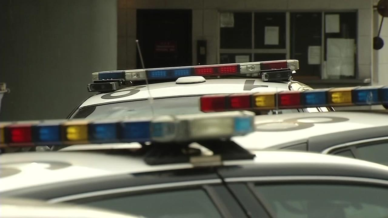 This undated image shows lights on a Bay Area police vehicle.
