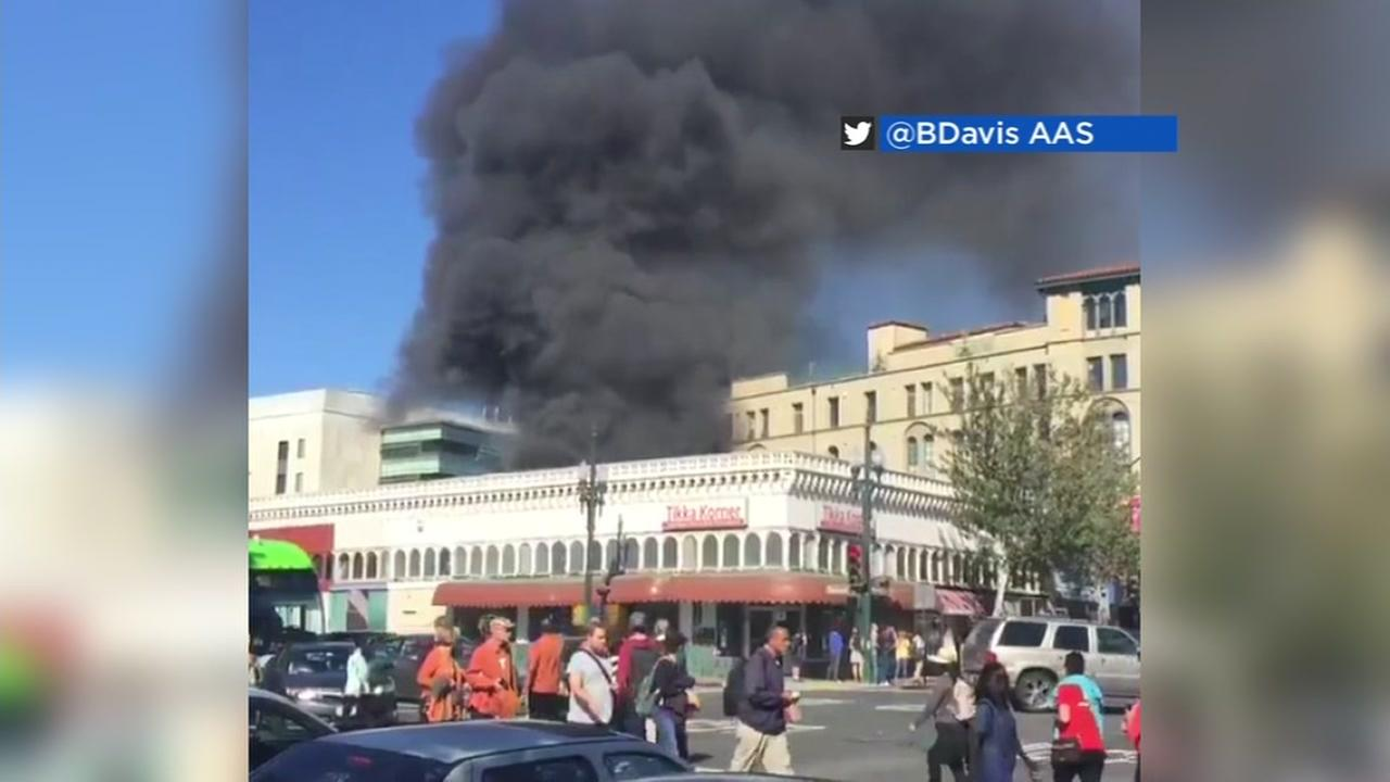 A building in downtown Berkeley catches fire on Sept. 17, 2016.