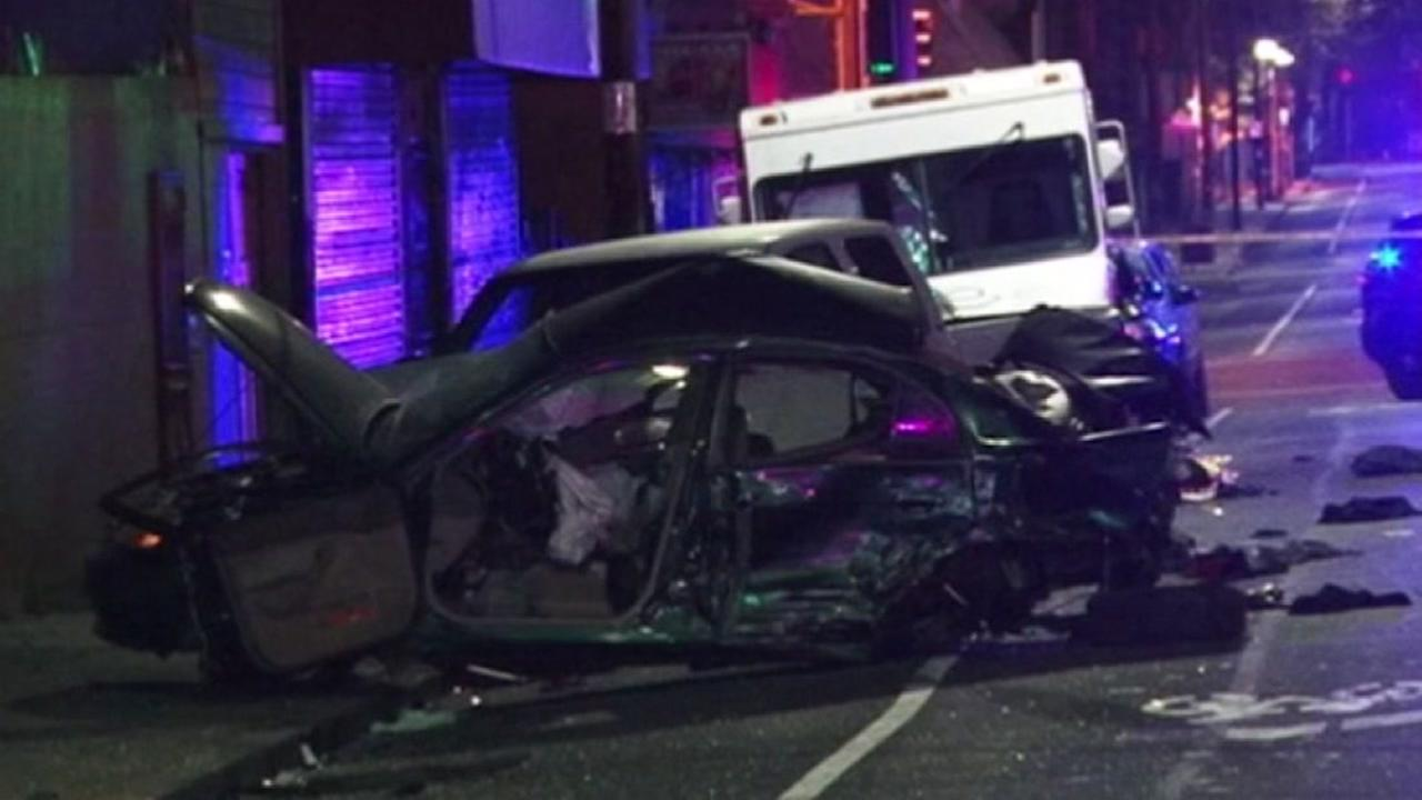 Police are investigating after a suspected drunk driver slammed into multiple cars in Oakland, California, Tuesday, September 20, 2016.