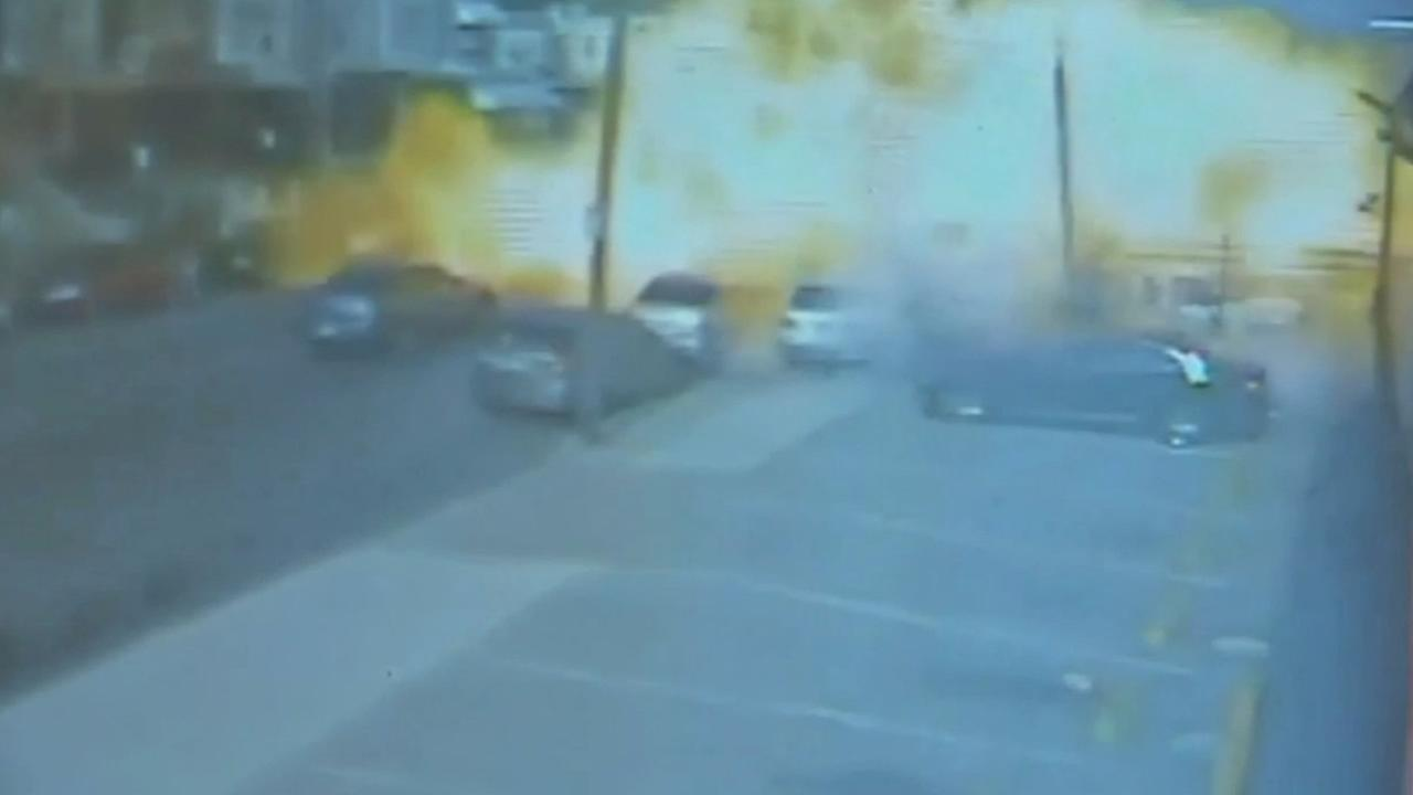 Surveillance video captures food truck explosion in Philadelphia.