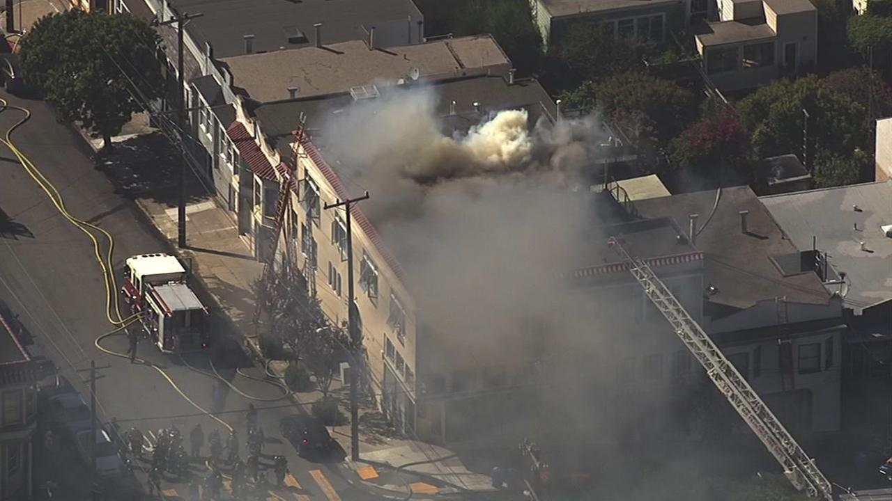 Crews battled a two-alarm fire in San Franciscos Potrero Hill on Wednesday, September 21, 2016.