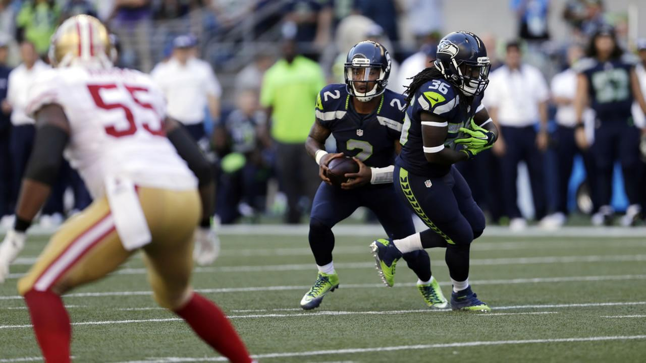 Seattle Seahawks quarterback Trevone Boykin in action against the San Francisco 49ers in the second half of an NFL football game, Sunday, Sept. 25, 2016, in Seattle. (AP Photo)