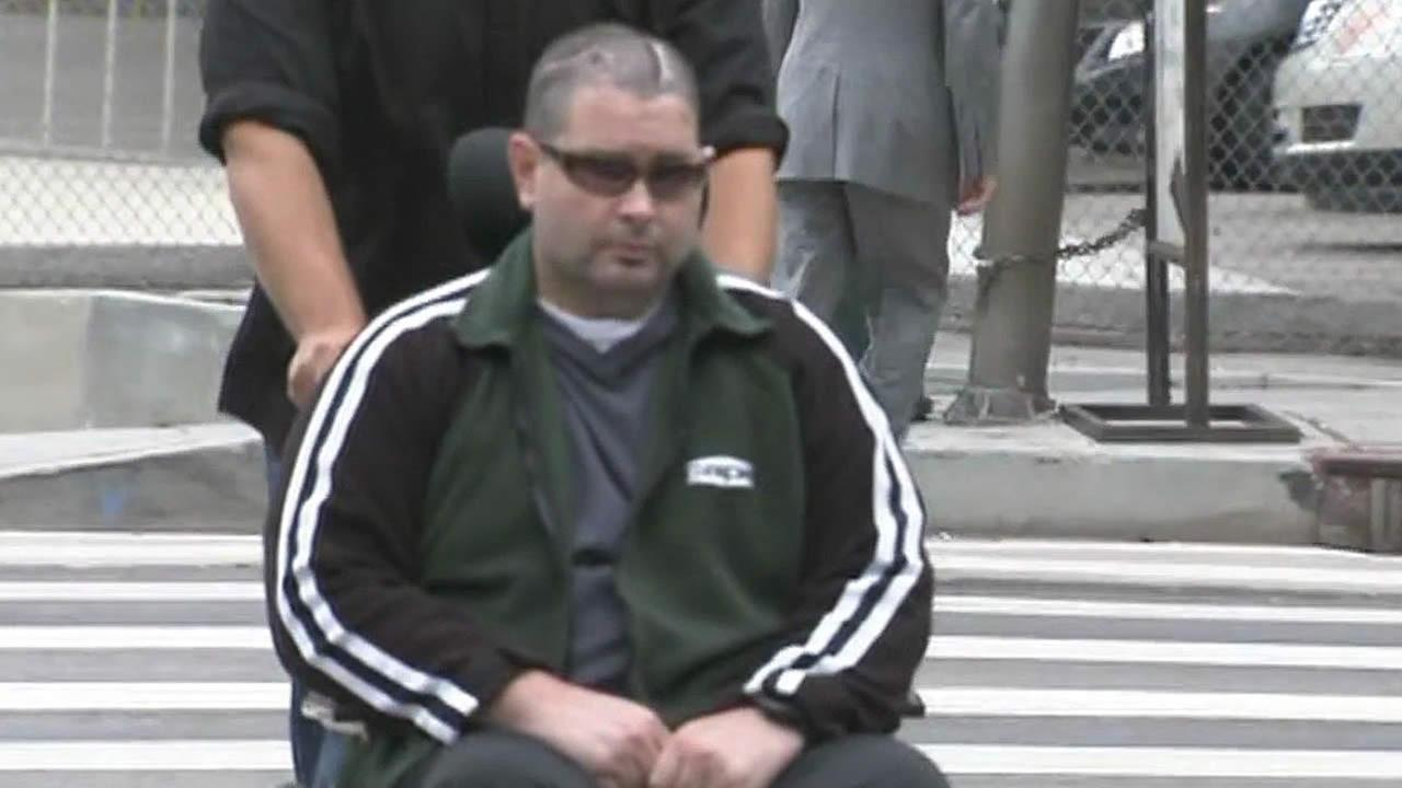 Beaten San Francisco Giants fan Bryan Stow in a wheelchair