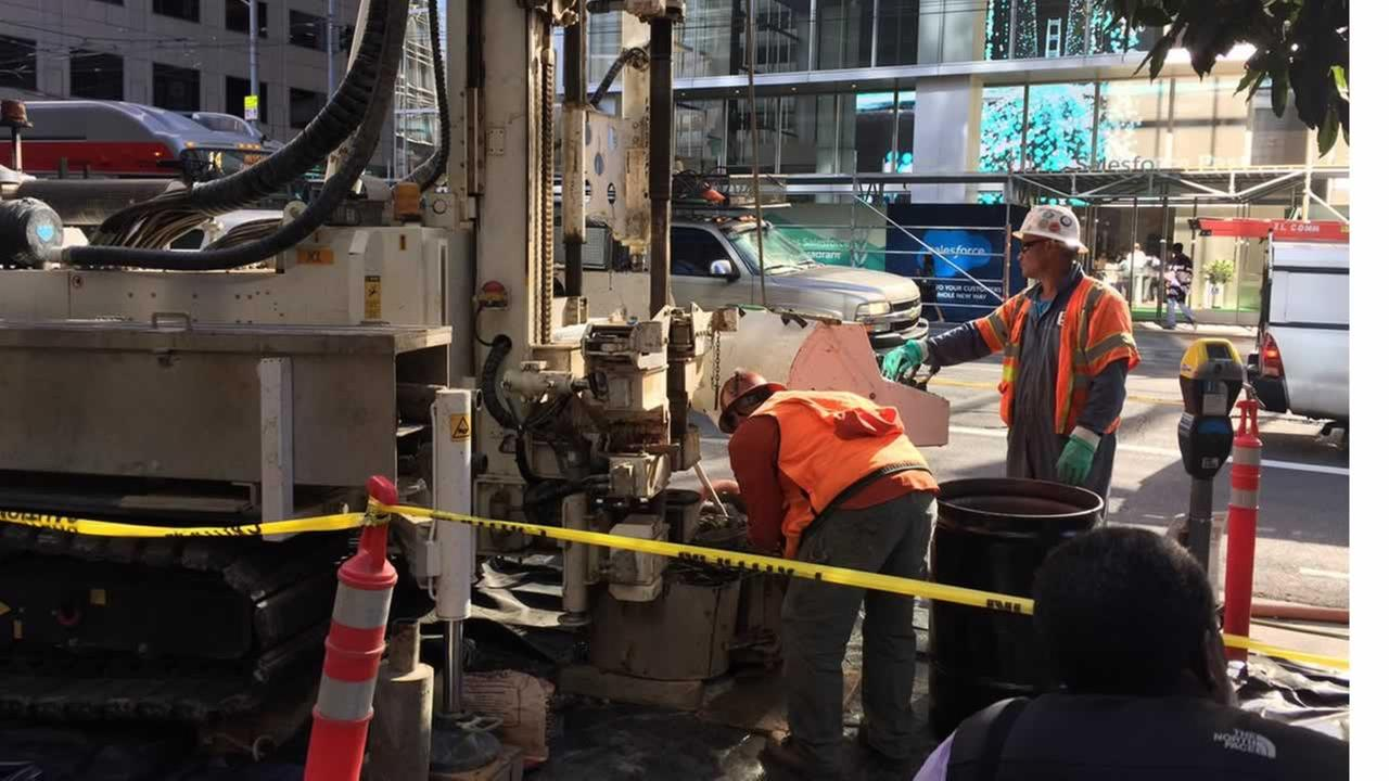 Engineers dig into the soil to find out why Millennium Tower is sinking on Monday, September 26, 2016 in San Francisco.