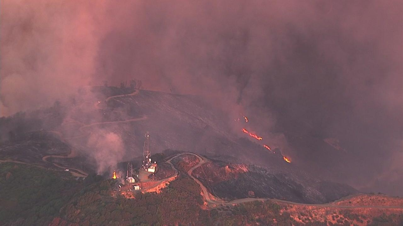 A fast-growing brush fire burns on Loma Prieta in the Santa Cruz Mountains on Monday, September 26, 2016.KGO-TV