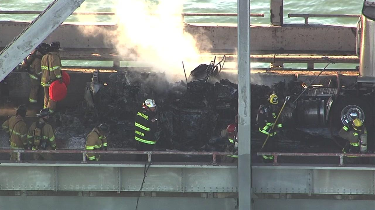 A big rig fire shut down all eastbound lanes of the RIchmond-San Rafael Bridge on Tuesday, September 27, 2016.