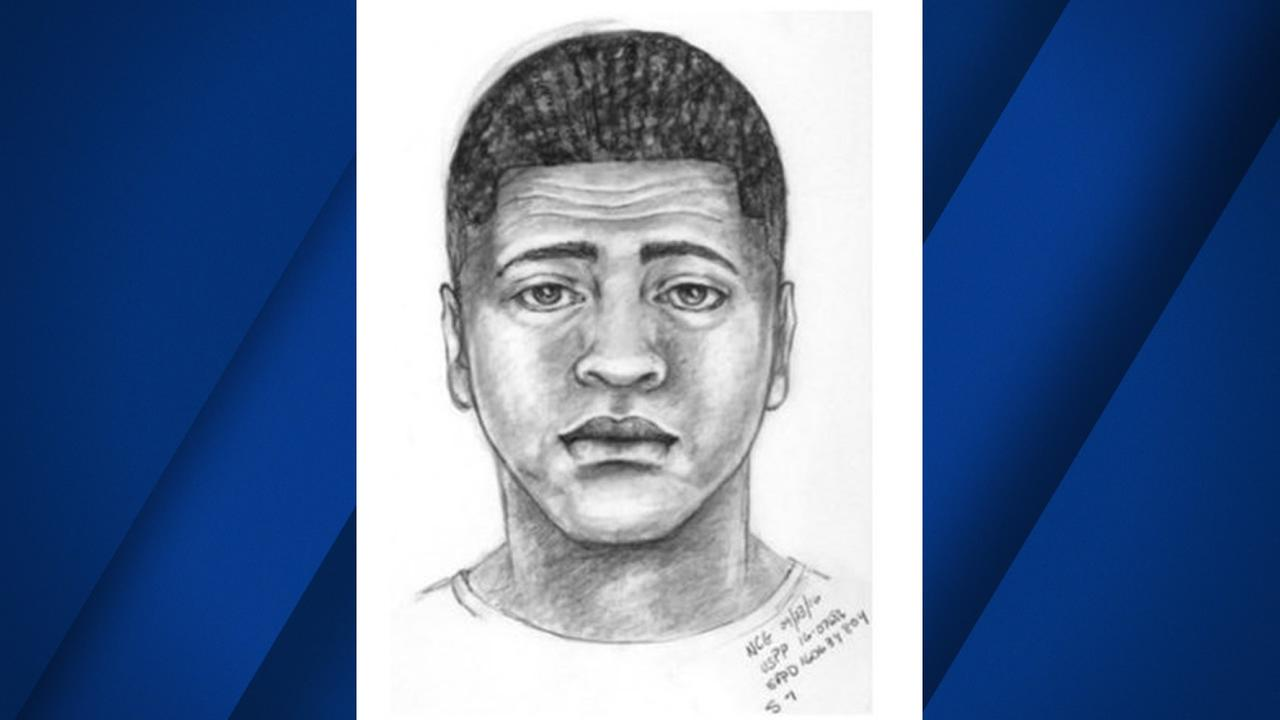 This sketch shows a person of interest in the death of a college student who was shot at San Franciscos Aquatic Park on August 6, 2016.