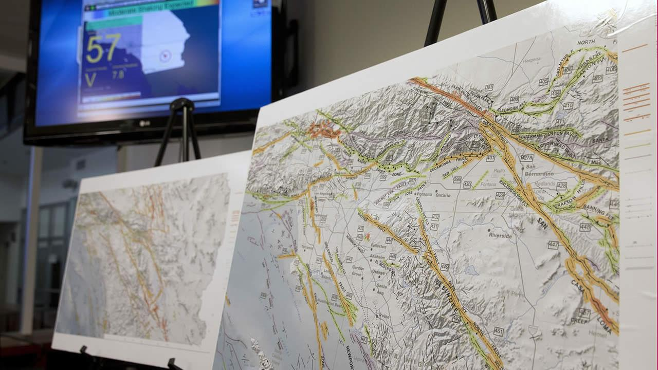 A map of earthquake faults is seen as a sample of an earthquake early warning system during a news conference Sept. 29, 2016, in Rancho Cordova. (AP Photo)