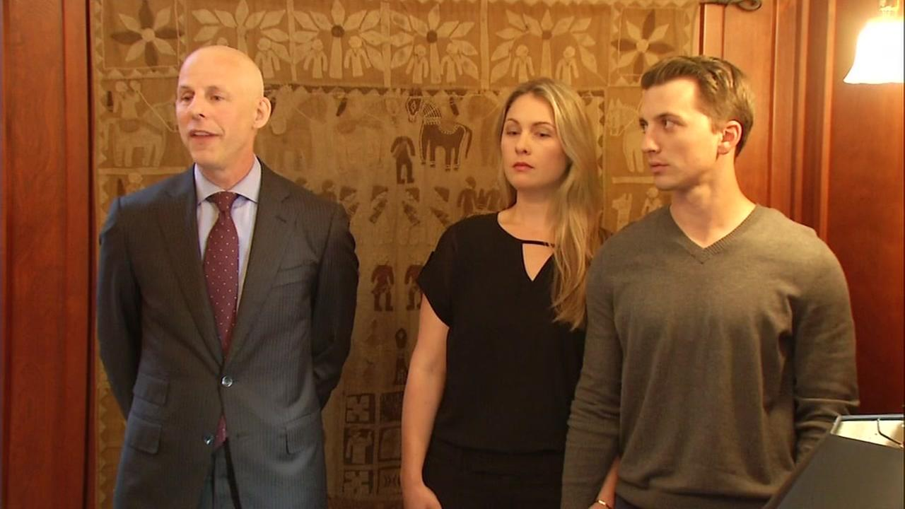 From left to right: attorney Doug Rappaport, Denise Huskins, and Aaron Quinn are seen at a news conference in San Francisco on Thursday, September 29, 2016.