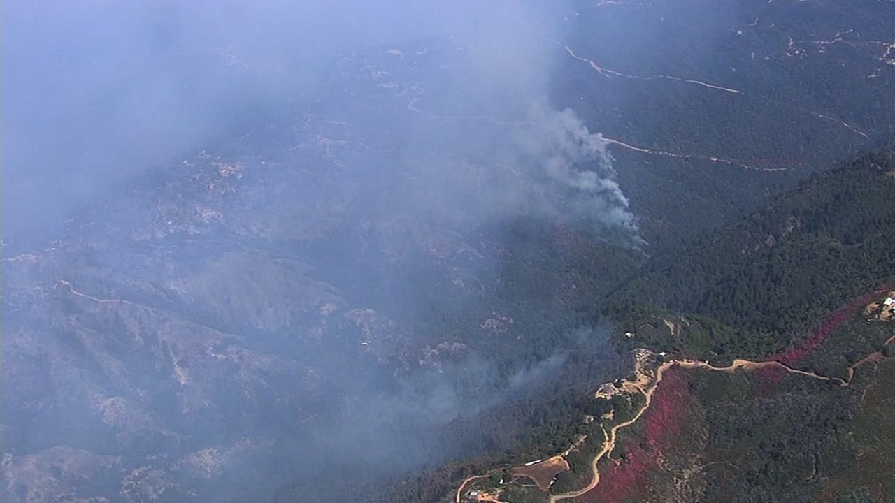 The Loma Fire burning in the Santa Cruz Mountains is seen on Thursday, September 29, 2016.KGO-TV