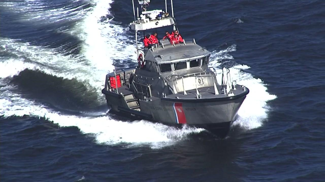 This image taken from Sky7 shows the Coast Guard searching for a possible missing kayaker off Stinson Beach in Marin County, Calif. on Friday, September 30, 2016.