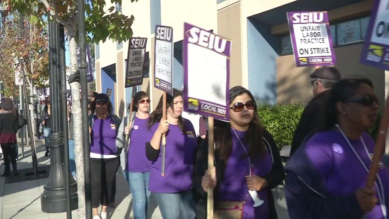 This image shows Contra Costa County social workers in Richmond, Calif. on strike over what they say are inadequate staffing levels on Sept. 30, 2016.