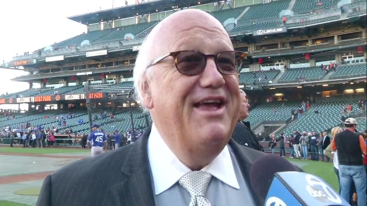 San Francisco Giants play-by-play announcer Jon Miller shared memories about Vin Scully at AT&T Park on Friday, September 30, 2016.