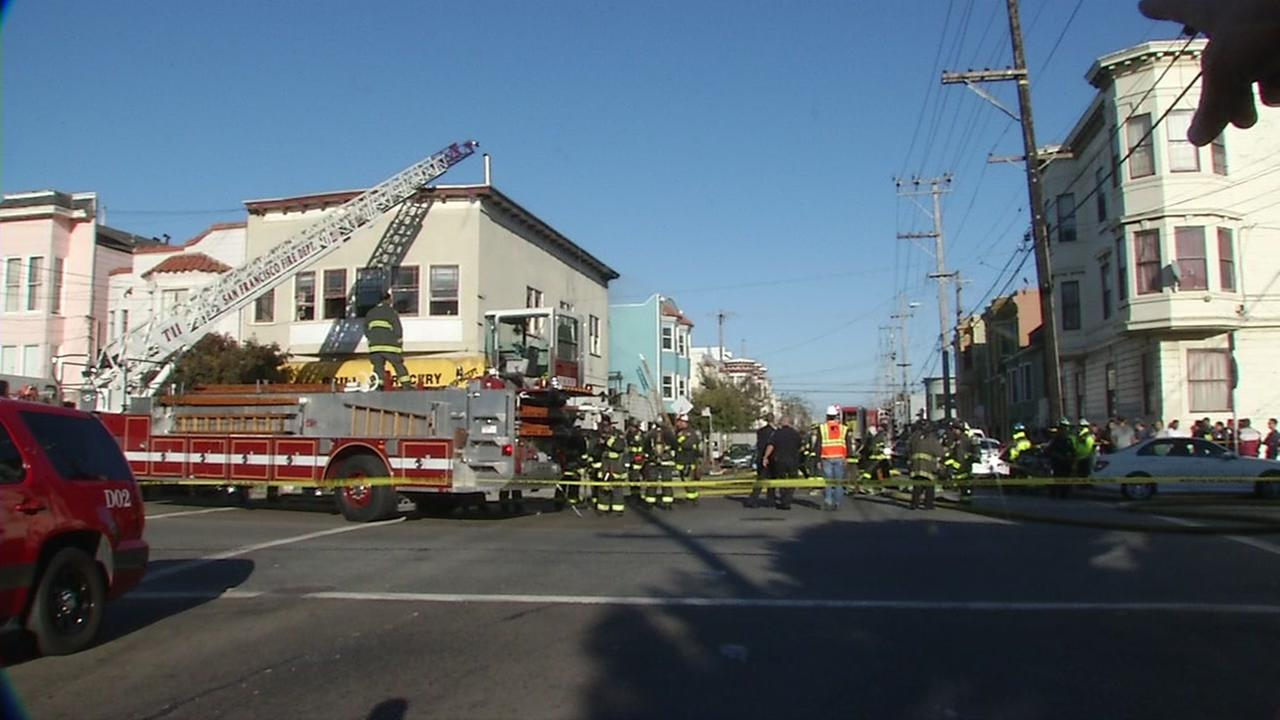 This image shows firefighters responding to a 2-alarm fire at 26th and Harrison streets in San Franciscos Mission District on Oct. 1, 2016.