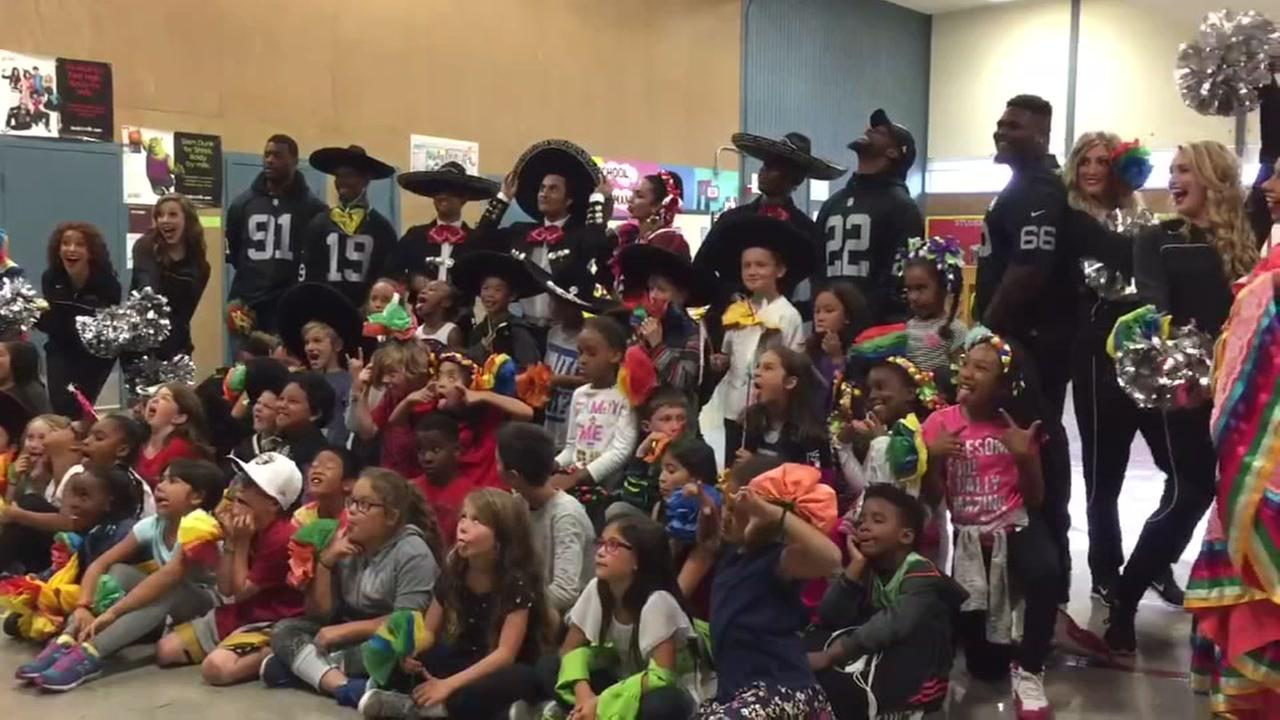 The Oakland Raiders and local performance group Ballet Folklorico met with students at Roosevelt Elementary School in San Leandro, Calif. on Monday, October 3, 2016.