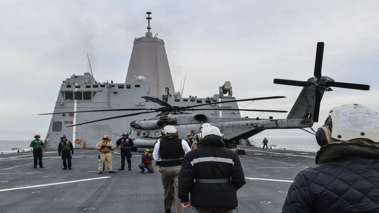 People walk on the USS San Diego in the San Francisco Bay at the start of Fleet Week on Monday, Oct. 3, 2016.Wayne Freedman/KGO-TV