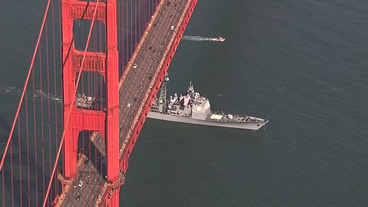 Boats enter the bay during Fleet Week's Parade of Ships in San Francisco on Friday, Oct. 7, 2016.KGO-TV
