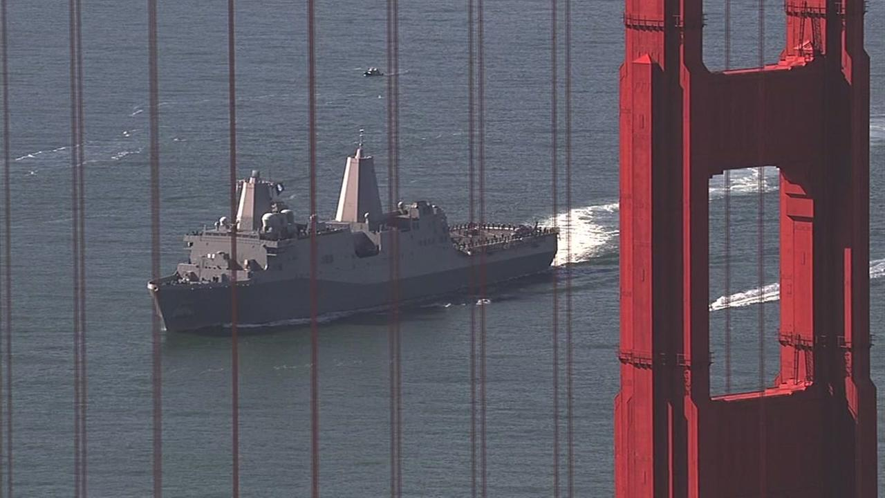 Boats enter the bay during Fleet Weeks Parade of Ships in San Francisco on Friday, Oct. 7, 2016.