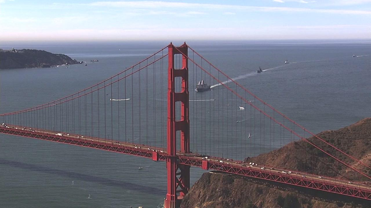 Fleet Weeks Parade of Ships crossed the San Francisco Bay on Friday, Oct. 7, 2016.KGO-TV