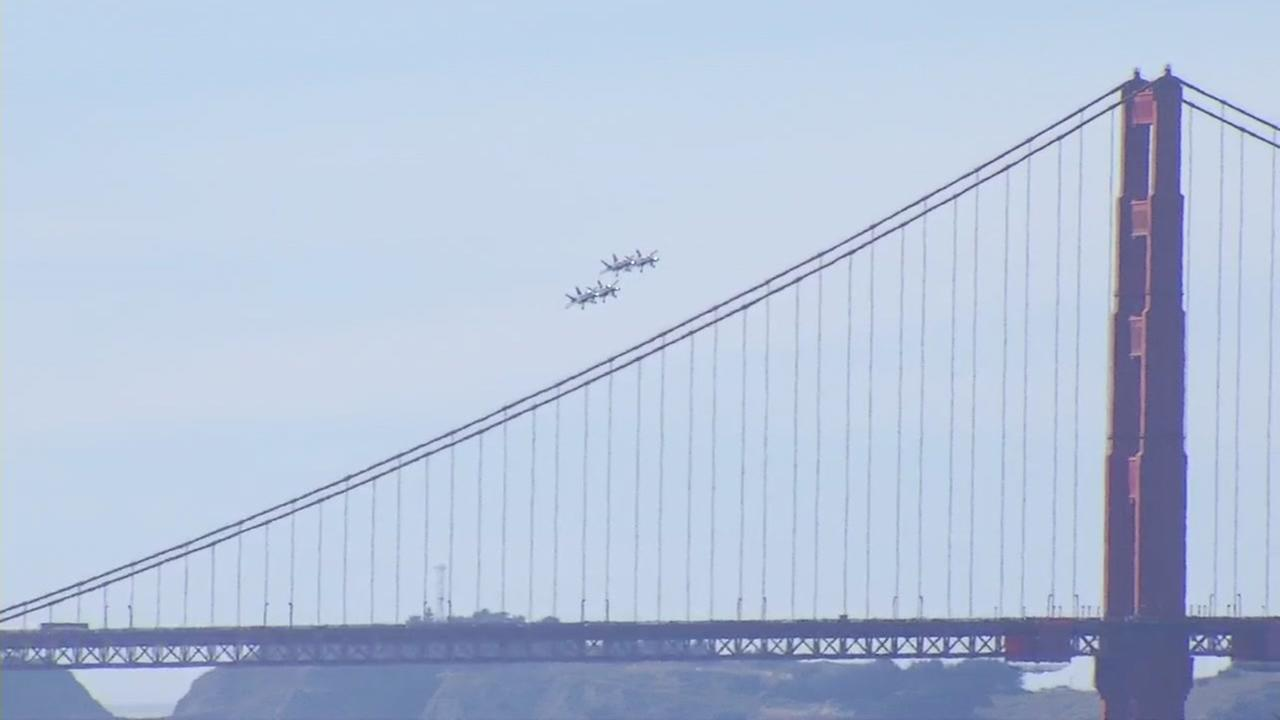 Aircraft with the Navy, Air Force, Royal Canadian Air Force, and the Breitling Jet Team flew over San Francisco for Fleet Week on Friday, Oct. 7, 2016.KGO-TV