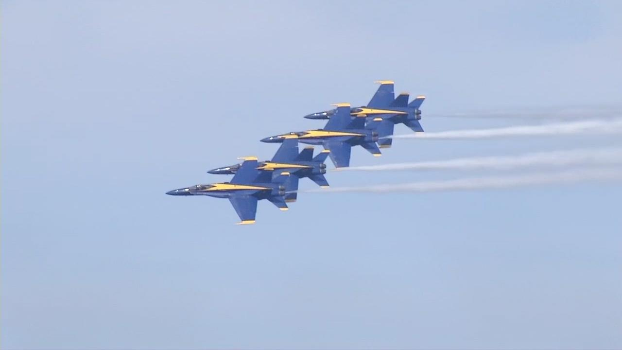 The Navys Blue Angels flew over San Francisco for Fleet Week on Friday, Oct. 7, 2016.