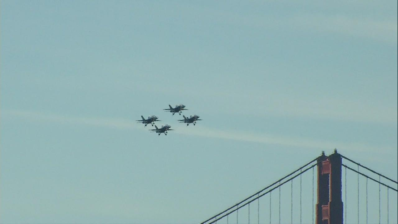 Aircraft with the Navy, Air Force, Royal Canadian Air Force and the Breitling Jet Team from Fance flew over San Francisco for Fleet Week on Saturday, October 8, 2016.KGO-TV