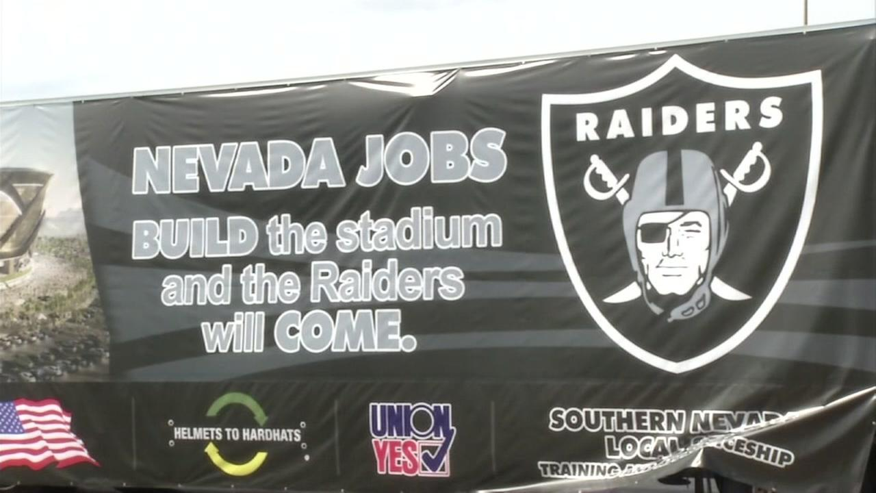 A sign is pictured promoting Nevada jobs as a result of the possible stadium build in Las Vegas, Nevada for the Oakland Raiders on Oct.10, 2016.