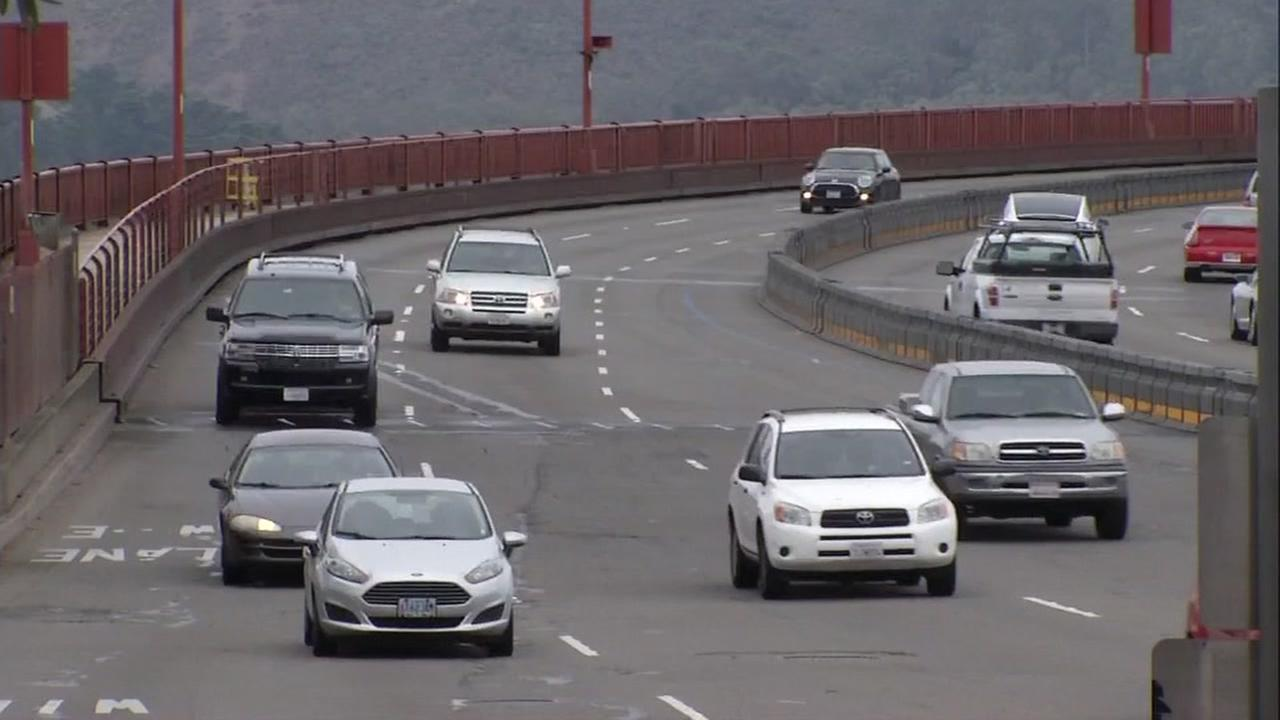 This undated image shows cars driving on the Golden Gate Bridge in San Francisco.