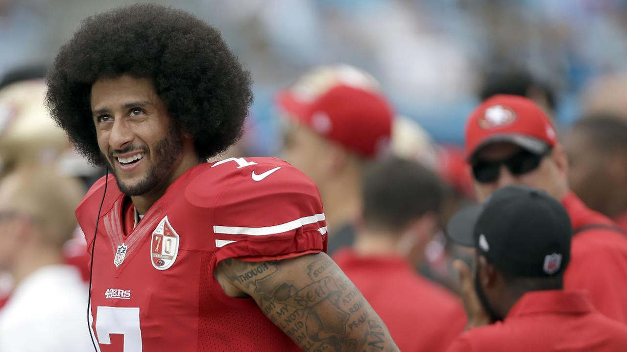 49ers Colin Kaepernick on the sidelines during the first half of an NFL football game against the Carolina Panthers in Charlotte, N.C., Sunday, Sept. 18, 2016.