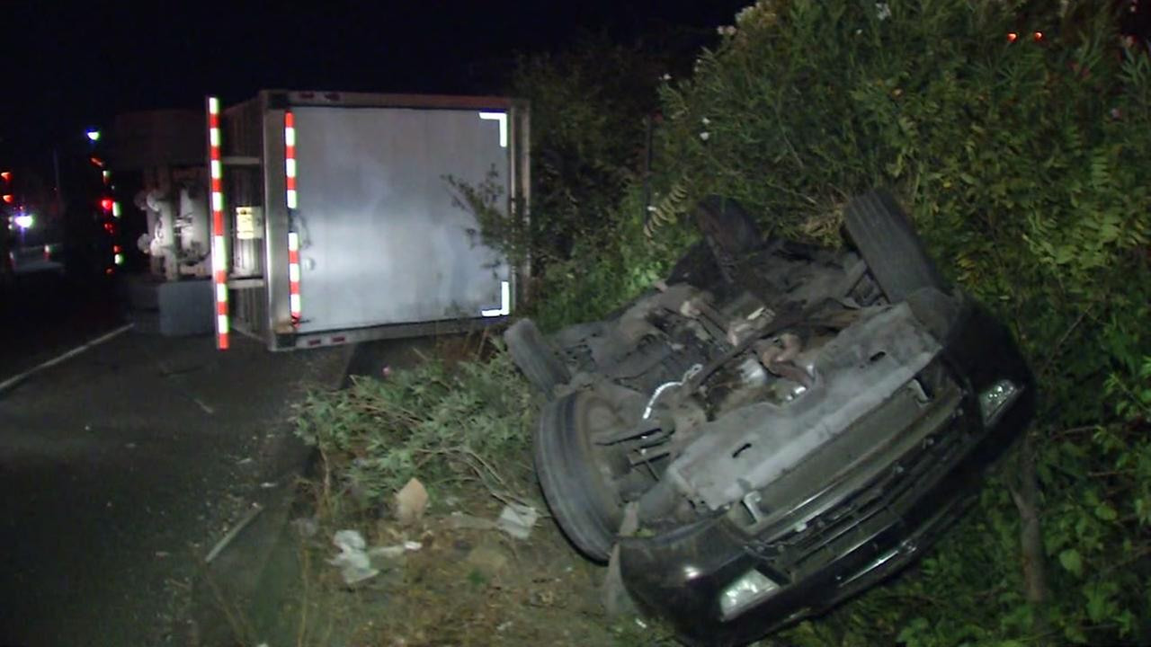 Big rig accident in San Jose, Thursday, Oct. 13, 2016.